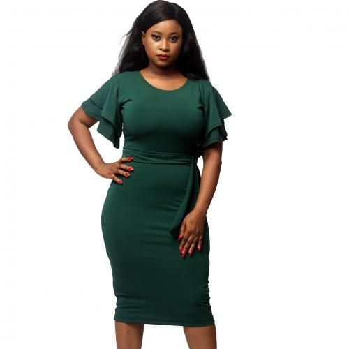 Anita Double Butterfly Sleeve Dress - Green