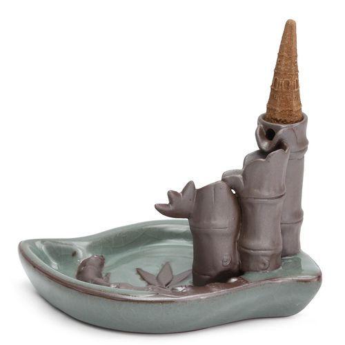 Porcelain Bamboo Smoke Backflow Ceramic Incense Burner Cone Holder Censer Decor