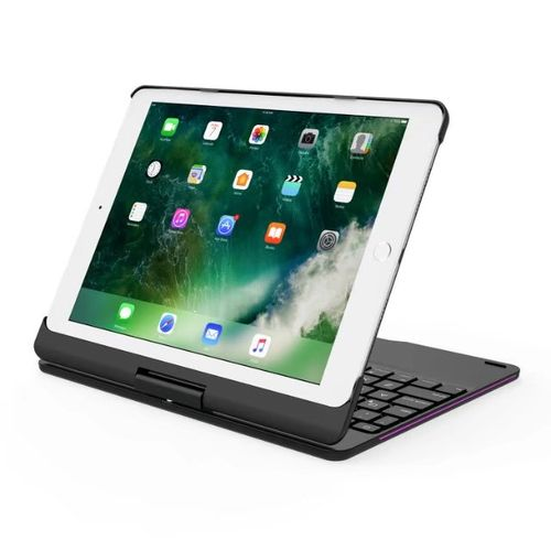 360º Rotating Bluetooth 7 Colors Backlit Aluminum Keyboard For New IPad 2017/iPad Air/Air 2/Pro 9.7""