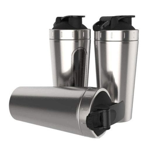 Stainless Steel Water Bottle Sport Gym Protein Shaker Blender Drink Cup 700ml Silver