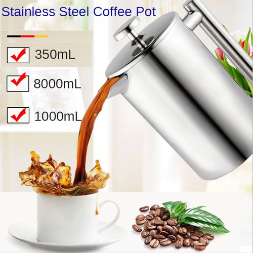 Coffee Maker Pot 350/800/1000ml Large Steel Water Kettle Milk Tea Brewer With 3 Layer Filter
