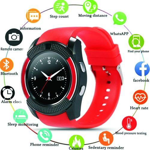 Waterproof Smart Watch With Camera & Sim Slot----RED