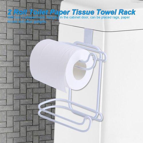 2 Roll Toilet Paper Tissue Towel Rack Door Back Holder Hanging Hook Kitchen Multifunction