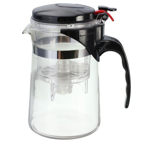 Straight Clear Glass Teapot Leaf Infuser Tea Cup Maker Press