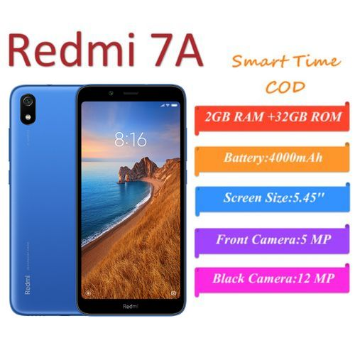 Mi Redmi 7A Global Version 5.45'' Smartphone Face Unlock 2GB RAM +32GB ROM Snapdragon Octa Core Mobile Phone
