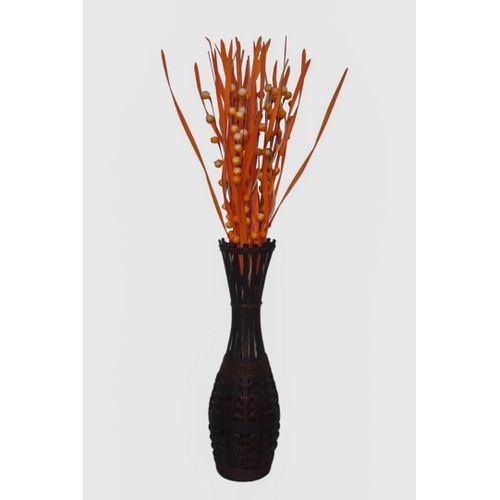 Basket Vase With Flowery - Black