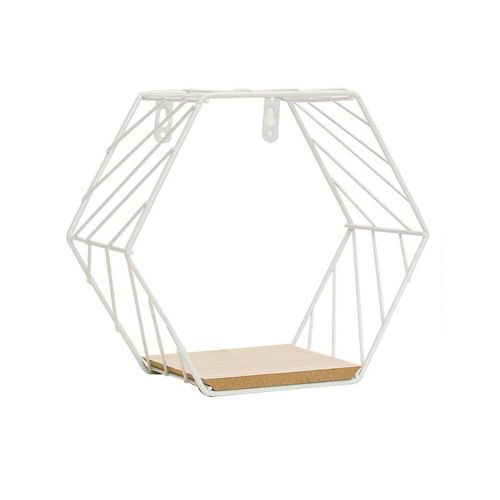 Geometric Iron Wall Shelf Mounted Storage Rack Organization For Bedroom White
