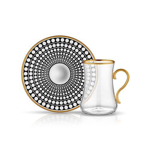 Koleksiyon Dervish Tea Glass With Handle Of 12 Pieces, Black…