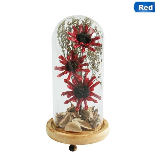 1pc Artificial Flower Micro Landscape With Glass Dome