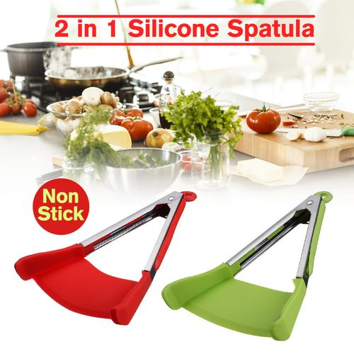 9''+12'' 2 In 1 Clever Non-stick Kitchen Spatula Tongs Heat Resistance Food Clip