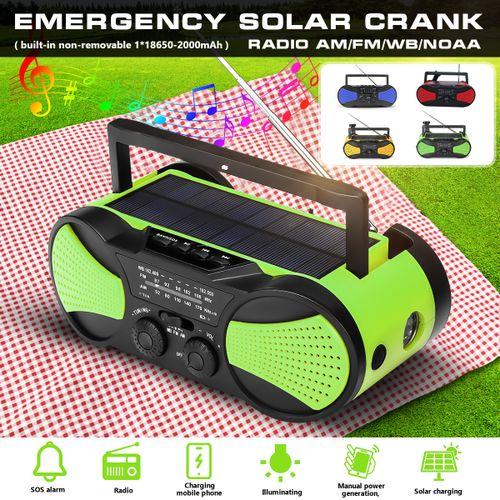 Solar Portable Radio Stereo AM FM Speaker AUX MP3 Player 2000mAh