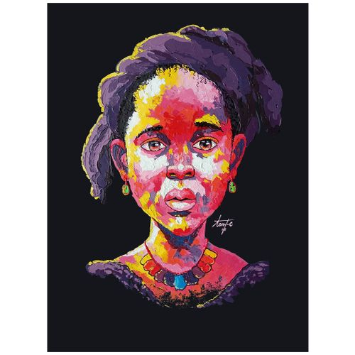 Beautiful Impasto Paintings Of African Kids (Series 5), Acrylic On Canvas For Interior Decors