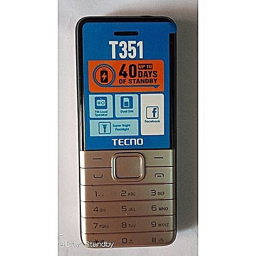 T351 Dual Sim Camera ,Torch Light ,1900mAh - Champagne Gold