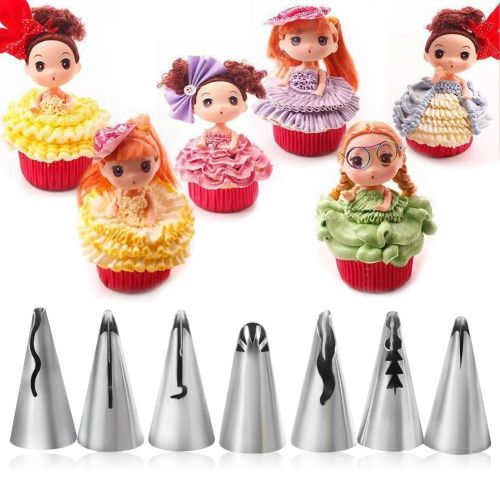 7Pcs Stainless Steel DIY Pastry Fondant Cake Icing Piping Nozzles Decorating Tips Baking Tool