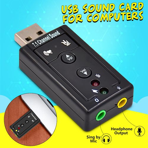 USB 2.0 External Sound Card Channel 7.1 3.5mm Adapter Microphone Headphone Audio