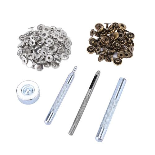 30pcs 10mm Metal Push Button With Leather Tool Set For Leathercraft Fabric Bags(Sliver +bronze)