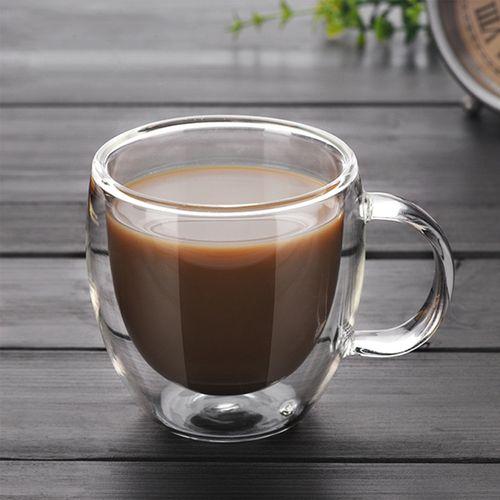 200ml Double Wall Glass Coffee Tea Cup Mug Heat-resistant