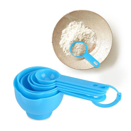 7Pcs/Set Plastic Measuring Cups + Spoons Measure Tea Coffee Kitchen Utensil Blue