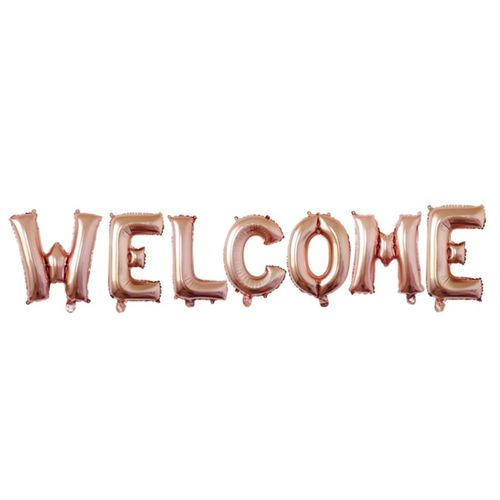 16 Inch Welcome Letter Balloon Set-ROSE GOLD