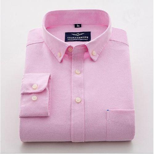 Plain Long Sleeve Oxford Shirt - Pink