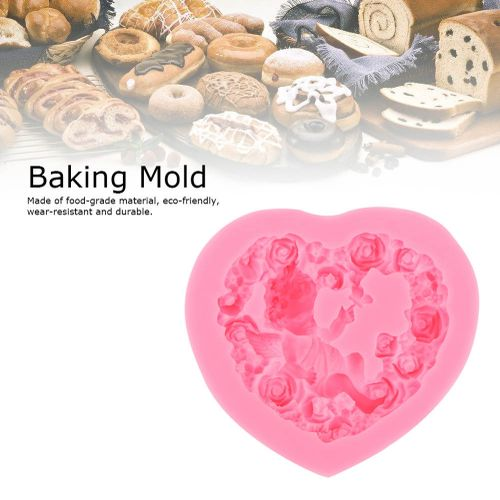 3D DIY Heart Shape Angel Flower Cooking Baking Chocolate Cookie Soap Silicone Mold Cake