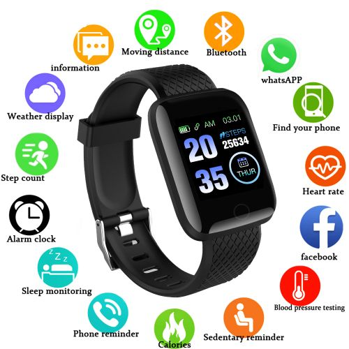Smart Watch Heart Rate Monitor Fitness Tracker Watch-Black