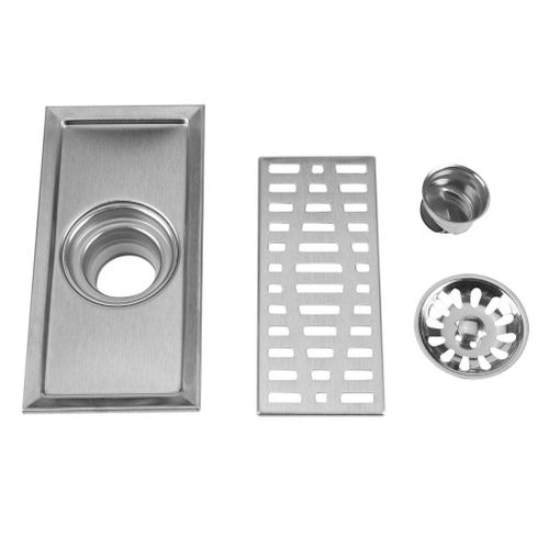 20x10cm Rectangle Stainless Steel Floor Drain Bathroom Shower Kitchen Waste Grate