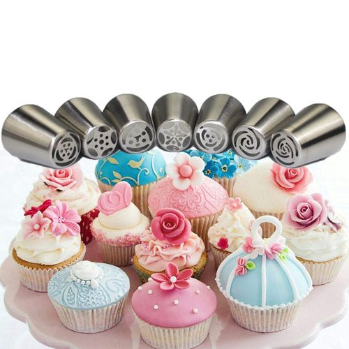 7PCS Stainless Steel Cake Nozzles Russian Pastry Tip Icing Piping Nozzle Decorating Tools Fondant Confectionery Sugarcraft