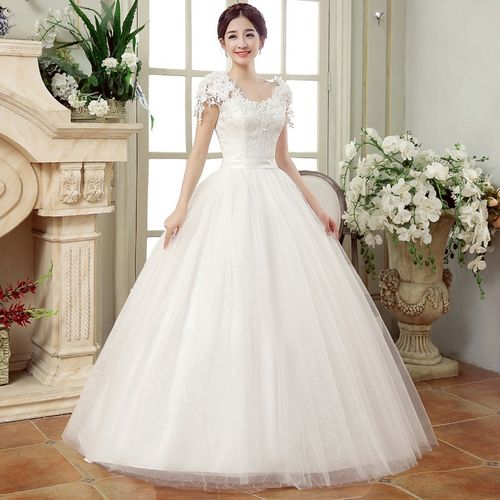 Women Lace Wedding Dress -White