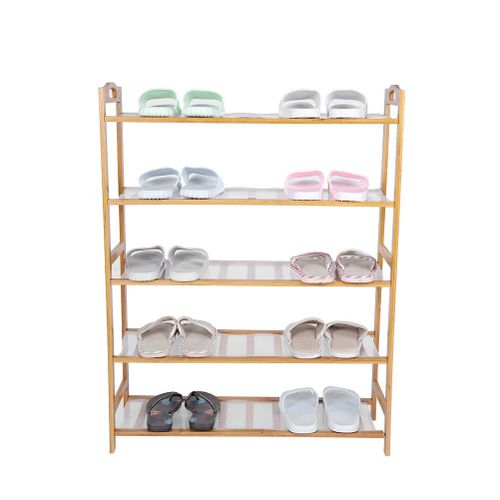 5 Tiers Bamboo Shoe Rack Solid Support Convenient Disassembly & Assembly Shoes Storage Rack