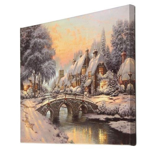40x30cm LED Christmas Snow Canvas Art Picture Print Home Wall Decor Batter/Plug
