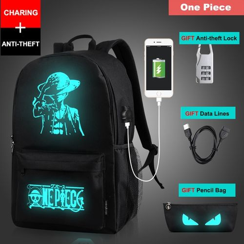 Senkey Style Student School Backpack Anime Luminous USB Charge Laptop Computer Backpack For Teenager Anti-theft Boys/girls School Bag(one Piece)