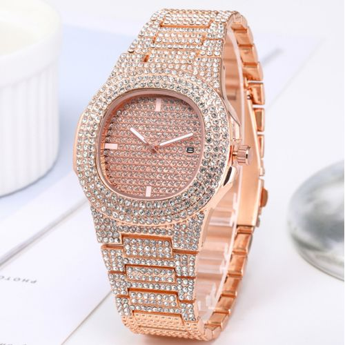 Studded Rhinestone Men Women Unisex Wrist Watch-Rose Gold