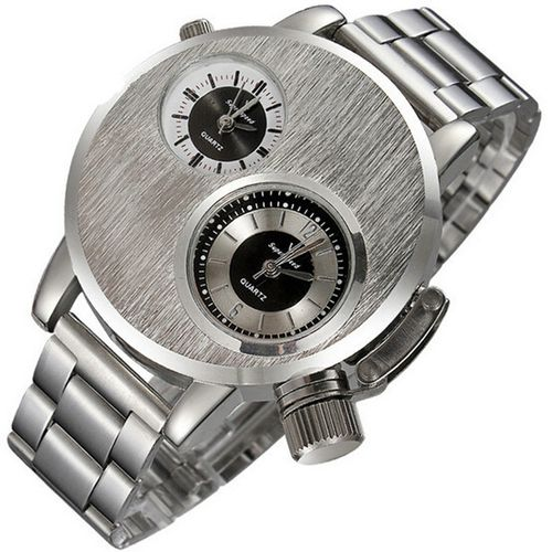 Meibaol StoreNew Mens Stainless Steel Date Military Sport Quartz Analog Wrist Watch