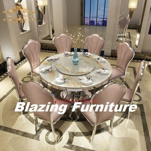 Italian Round Marble Dinning With 6 Chairs