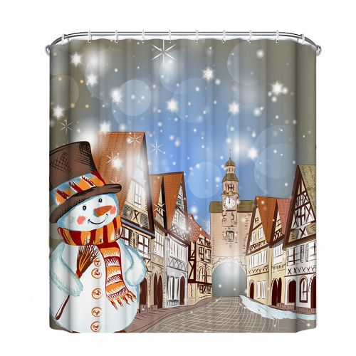 Hiamok_Dtrestocy Christmas Waterproof Polyester Bathroom Shower Curtain Decor With Hooks New H