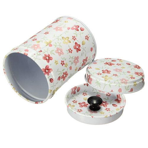Double Cover Tea Storage Tins Canister Box Caddy Sugar Candy Coffee Red Flower 03