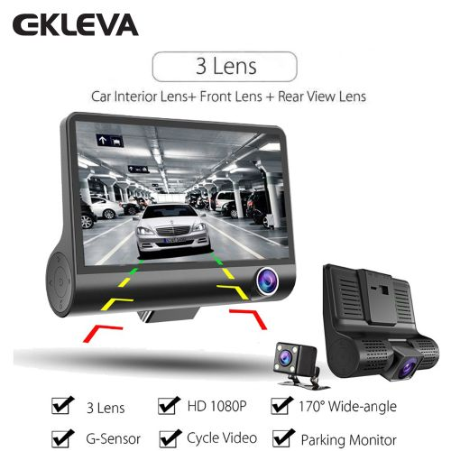 "1080P 3 Lens G-sensor HD Car DVR Dash Cam Video Recorder Inch Dash Front 4"" Inside Of Car And Rear 170+120 Car Camera DVR Video Recorder Black"