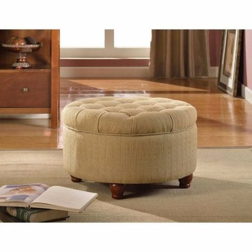 Handys - Tan & Cream Tweed Tufted Storage Ottoman (Delivery Within Lagos Only)