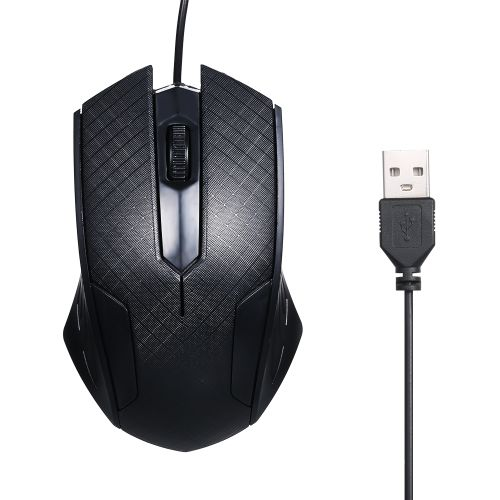 3-Button USB Optical Wired Mouse With 1.1M Cord Compatible W