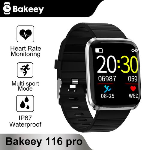 116 Pro 1.3inch Large View Heart Rate Blood Pressure Monitor Multi-sport Modes Smart Watch- Black