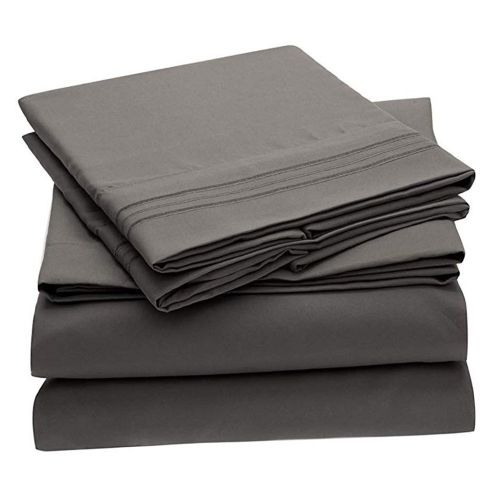 Bed Supplies Printing Set Washable Quilt Cover Bed Sheet Pillow Cases Kit Dark Gray