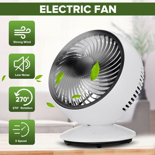 USB Rechargeable Portable Desk Strong Cooling Fan Clip 270? Automatic