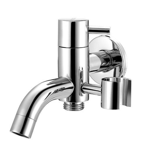 KCASA Brass Water Knockout Trap Three Way Angle Valve Water Tap Shower Cleaning Bidet Spray Silver