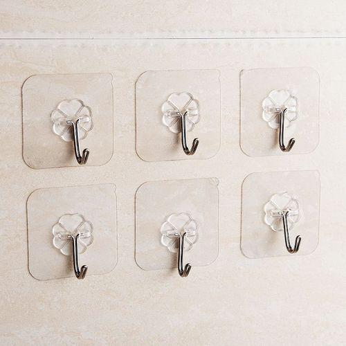 Transparent Kitchen Tools Organizer No Nail Magic Wall Stickers Sticky Hook- 6pics