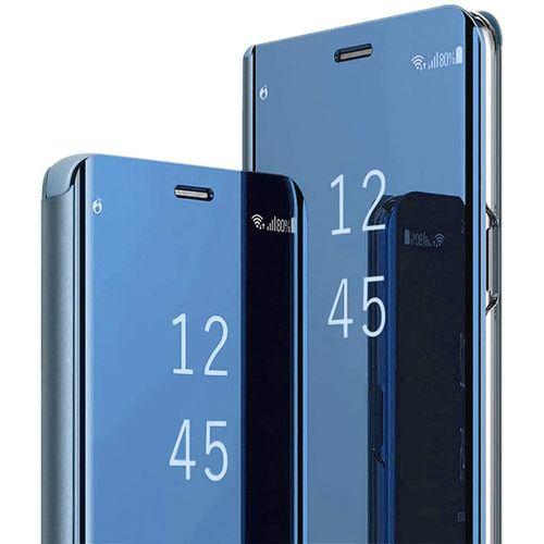 Samsung Galaxy M31 Plating Mirror Leather Case - Blue