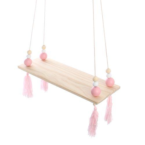 Hanging Wall Shelf Wood Rope Swing Shelves Pink Decor Holder Vintage Rustic Room