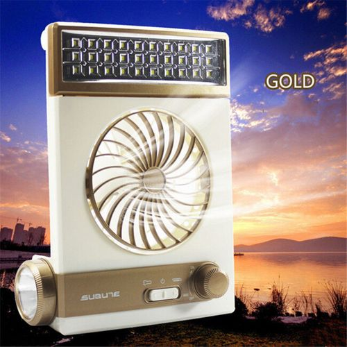 Solar Power/Rechargeable 2-in-1 Camping Cool Fan Light Tent LED Lantern Cooler Gold