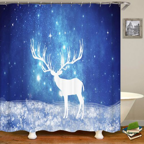 Print Polyester Fabric Shower Curtain Snowflake Deer 180 X 180cm Bath Mat 45 X 75cm For Home Bathroo