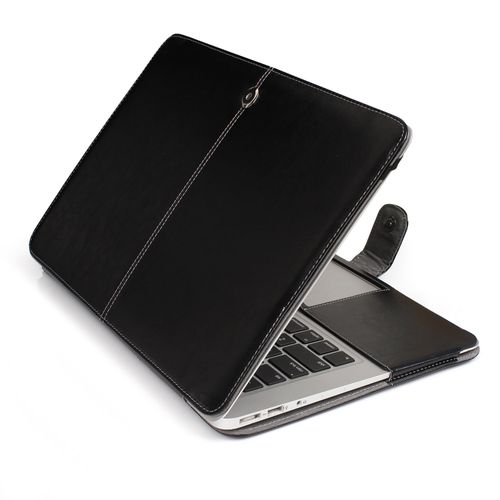 """11"""" Air Case, One-piece Design Soft PU Leather Cover For Macbook 11.6 Inch, Black"""